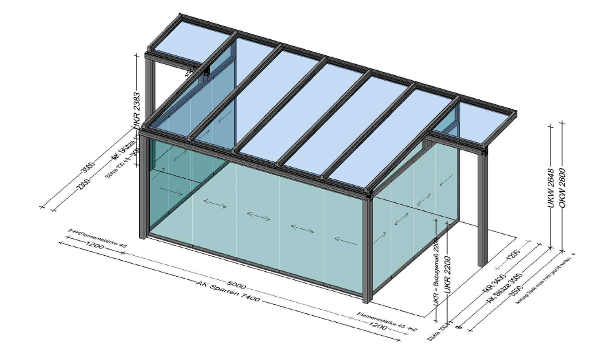 Wintergarten Ideen mit überstehenden Dach - Planung
