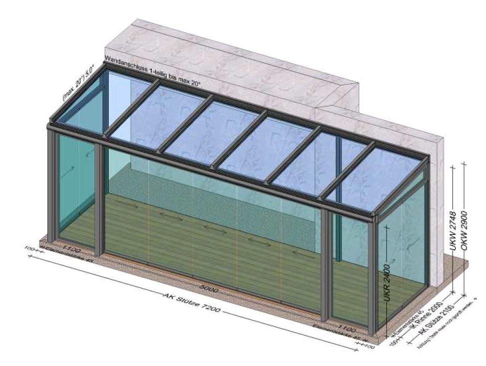 Wintergarten Kaltsystem mit Schiebeverglasungen