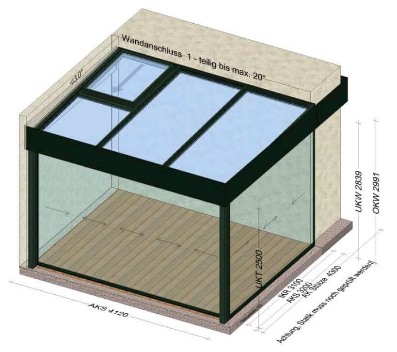 Wintergarten mit Dachfenster zum Öffnen
