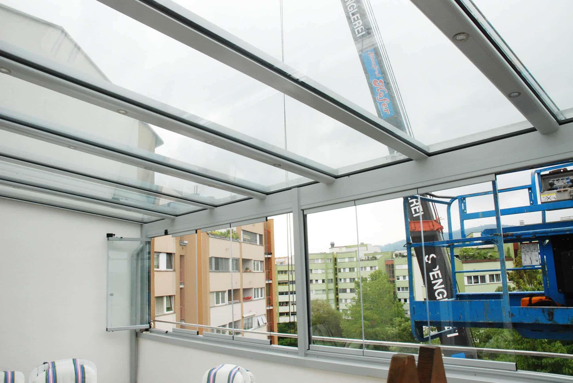 Wintergarten mit Dachverglasung - Kranmontage