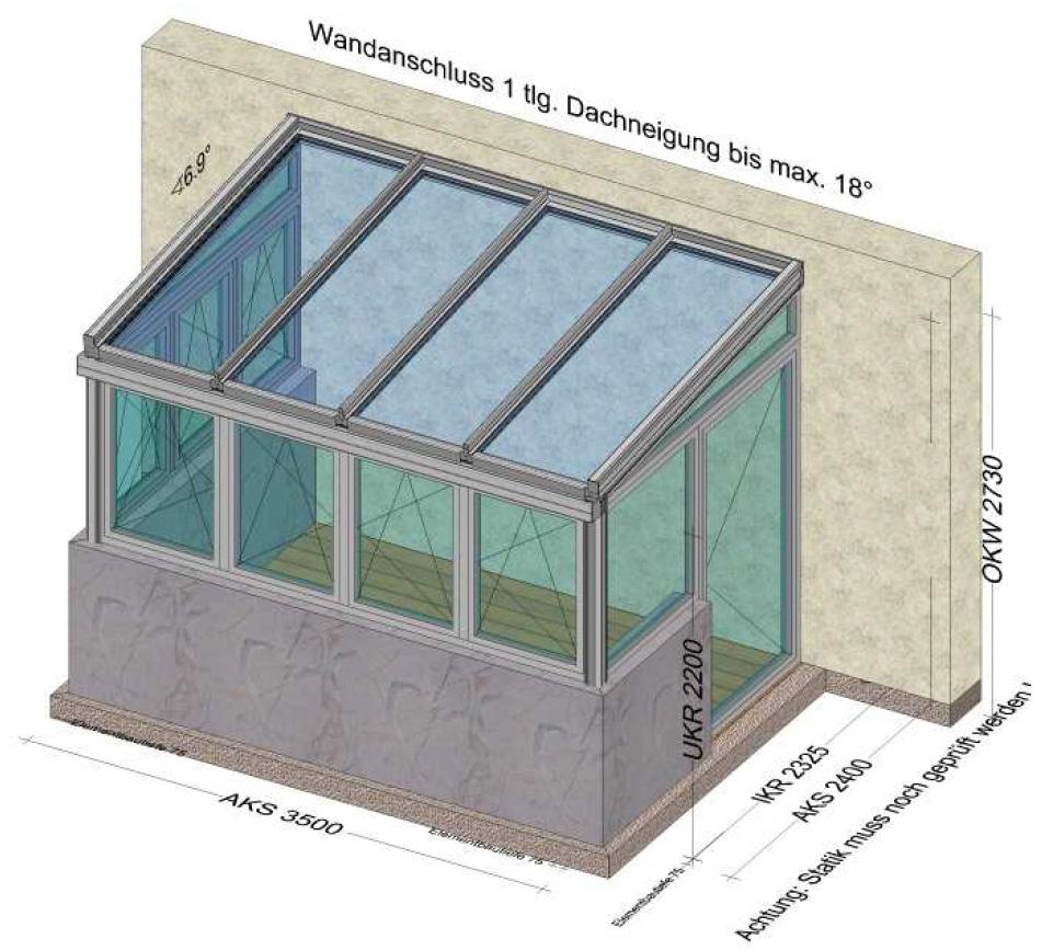 Wintergarten mit Dreh-Kipp-Fenster und Eingangstüre