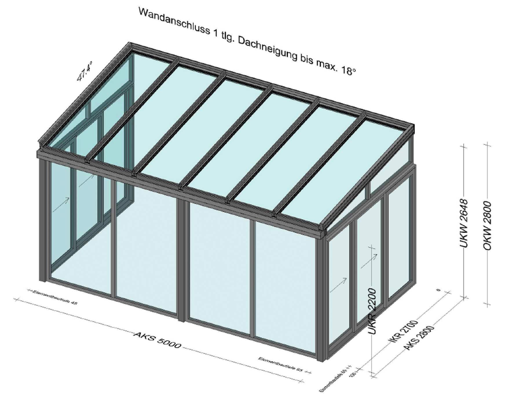 Wintergarten mit fixen Fenstern und Schiebetüren