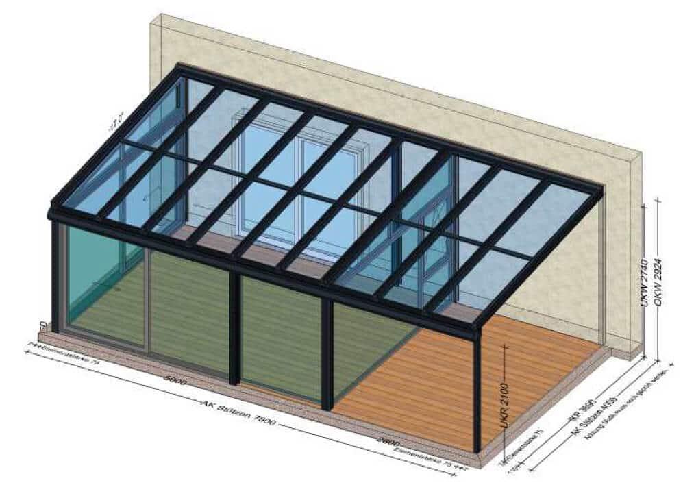 Wintergarten mit Glasdach und verlängerter Glasüberdachung
