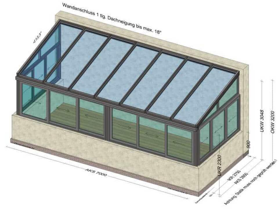Wintergarten mit Glasdach und seitlichen Schiebefenstern