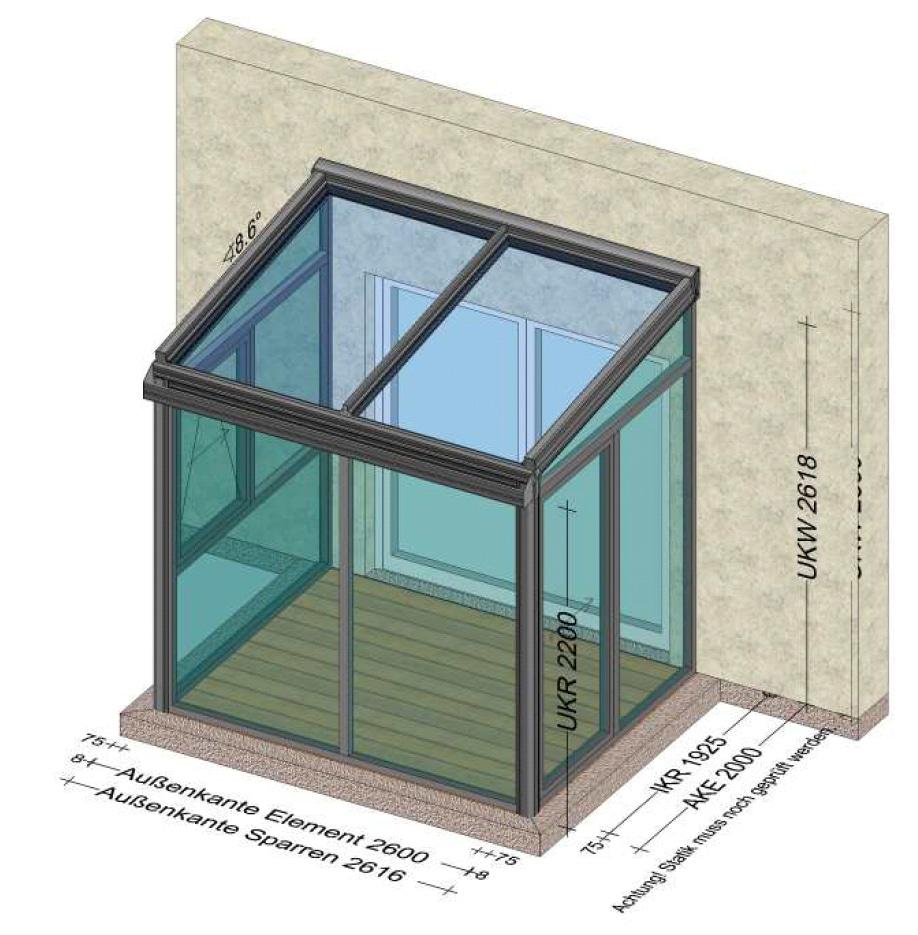 Wintergarten mit Glasdach unter 3 Meter