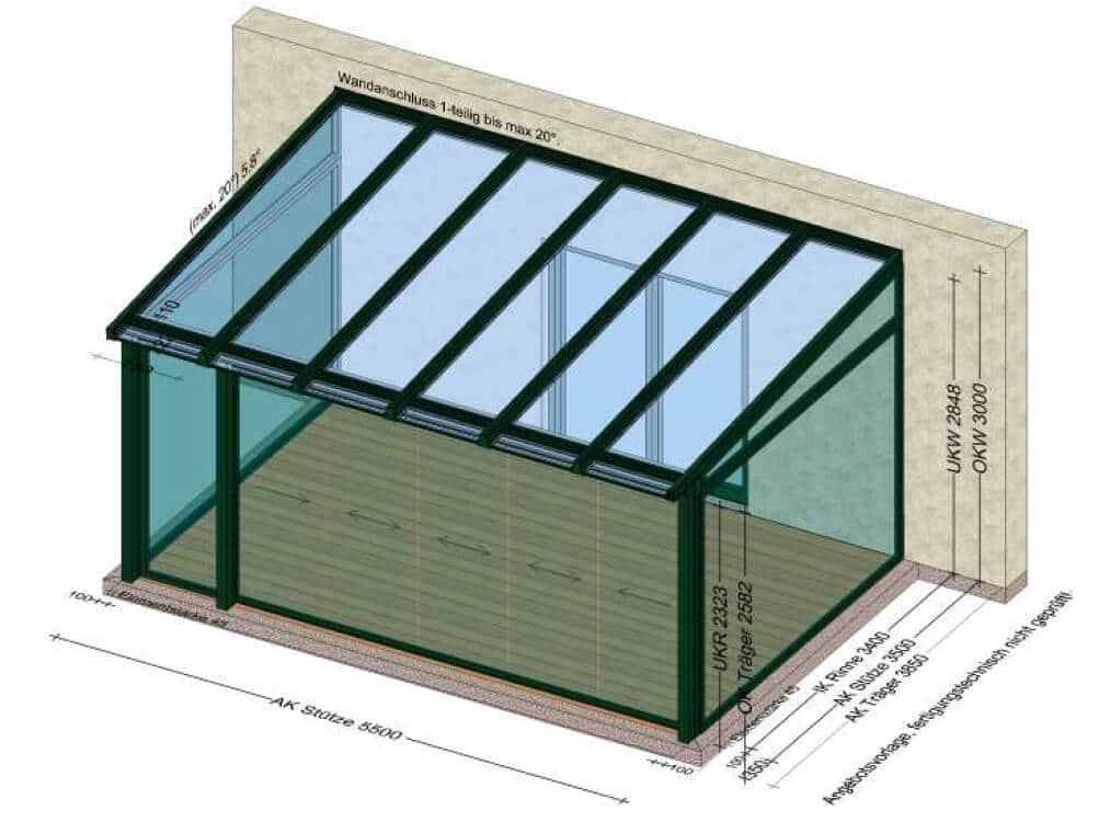 Wintergarten mit Glasschiebewänden nach Sonderanfertigung