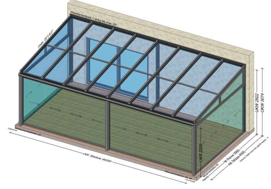 Wintergarten mit Schiebeelemente Sunflex - Planung