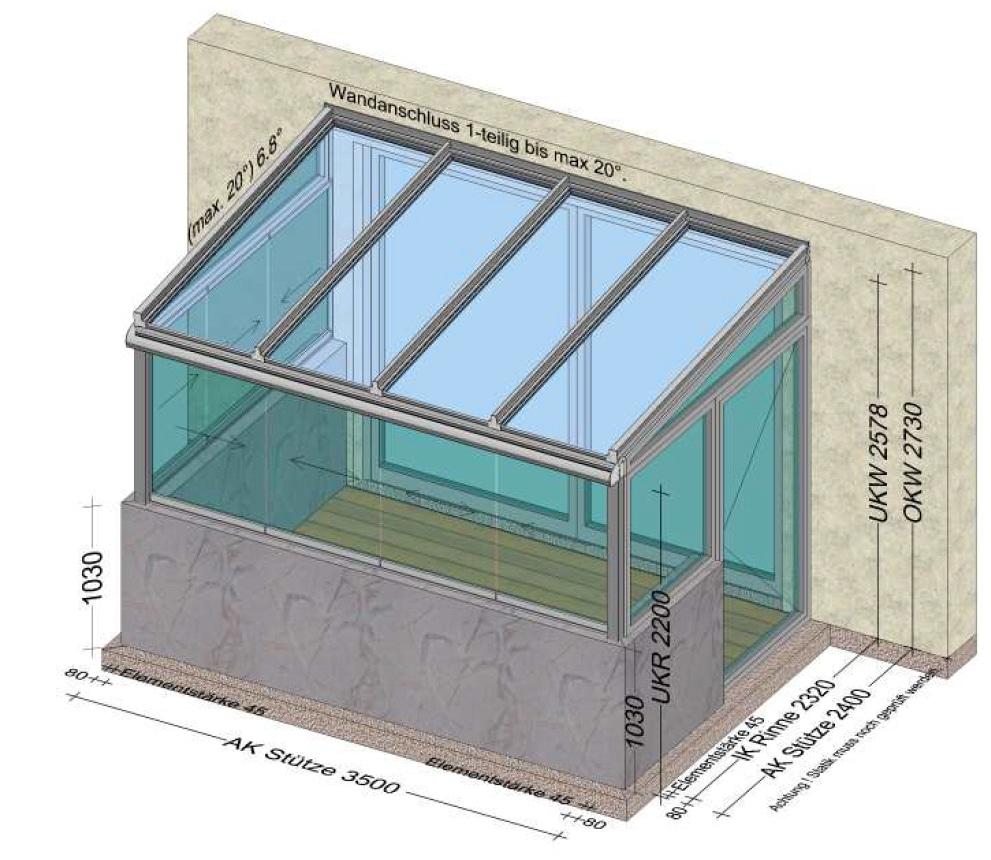 Wintergarten mit Schiebefenstern und Türe