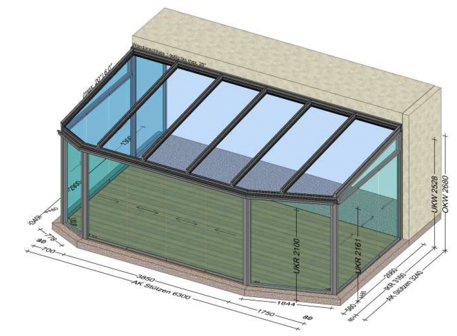 Wintergarten mit seitlichen Schiebesystemen aus Glas