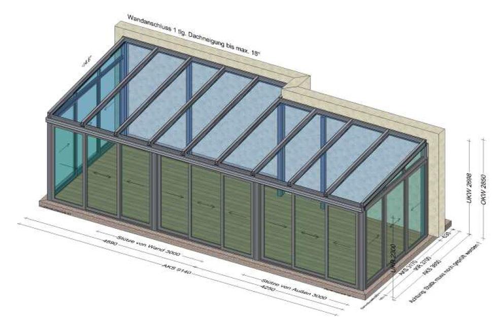 Wintergarten mit unterschiedlichen Tiefen und Schiebesystem Neher - Planung