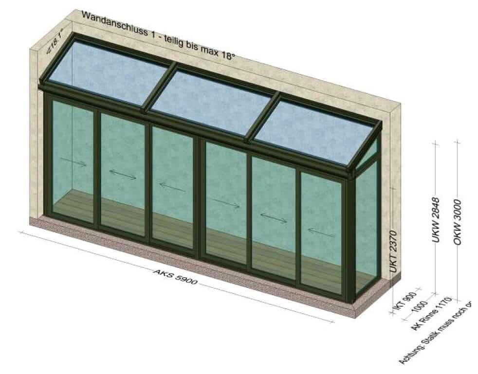 Wintergarten Planung mit gerahmten Schiebetüren