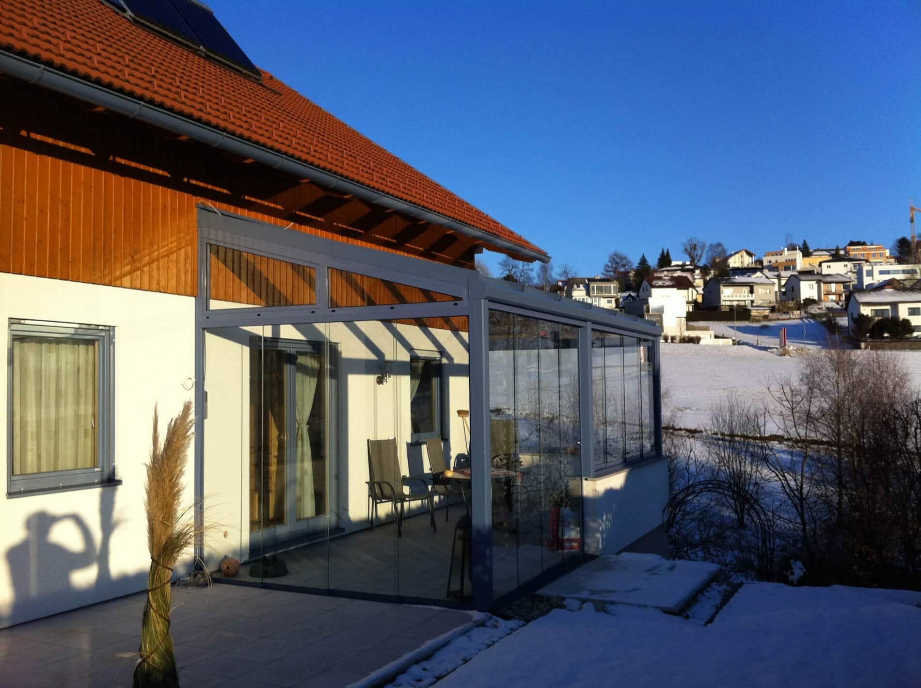 Wintergarten Pultdach mit Glasschiebetüren
