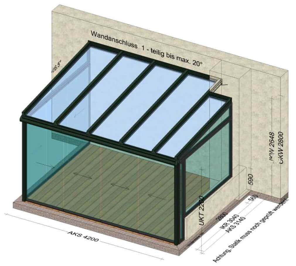 Wintergarten Seitenteile mit Glasschiebetüren