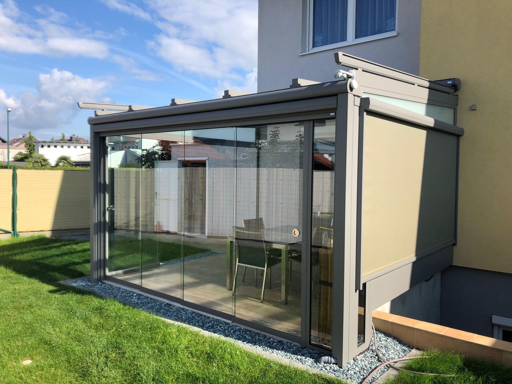 Wintergarten Sommergarten - Schiebesystem + Fenstermarkise - Projektort Oberösterreich