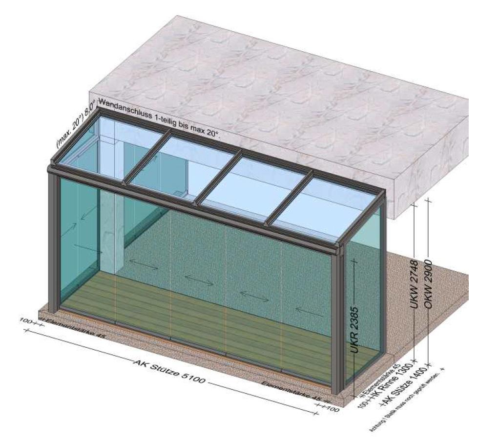 Wintergarten speziell angefertigt unterm Balkon