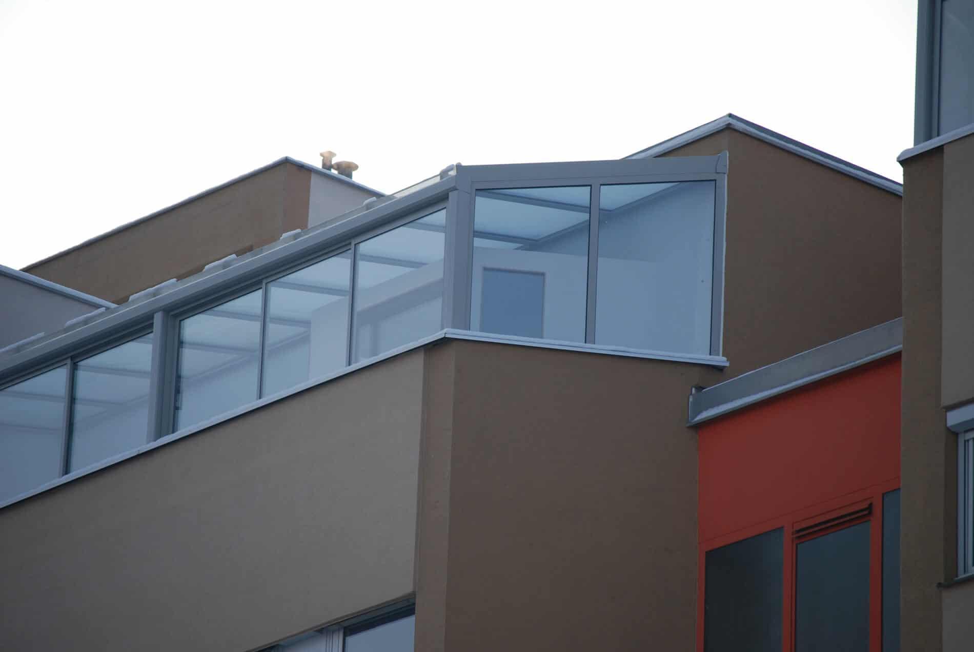 Wintergarten Terrasse Seitenteil grau