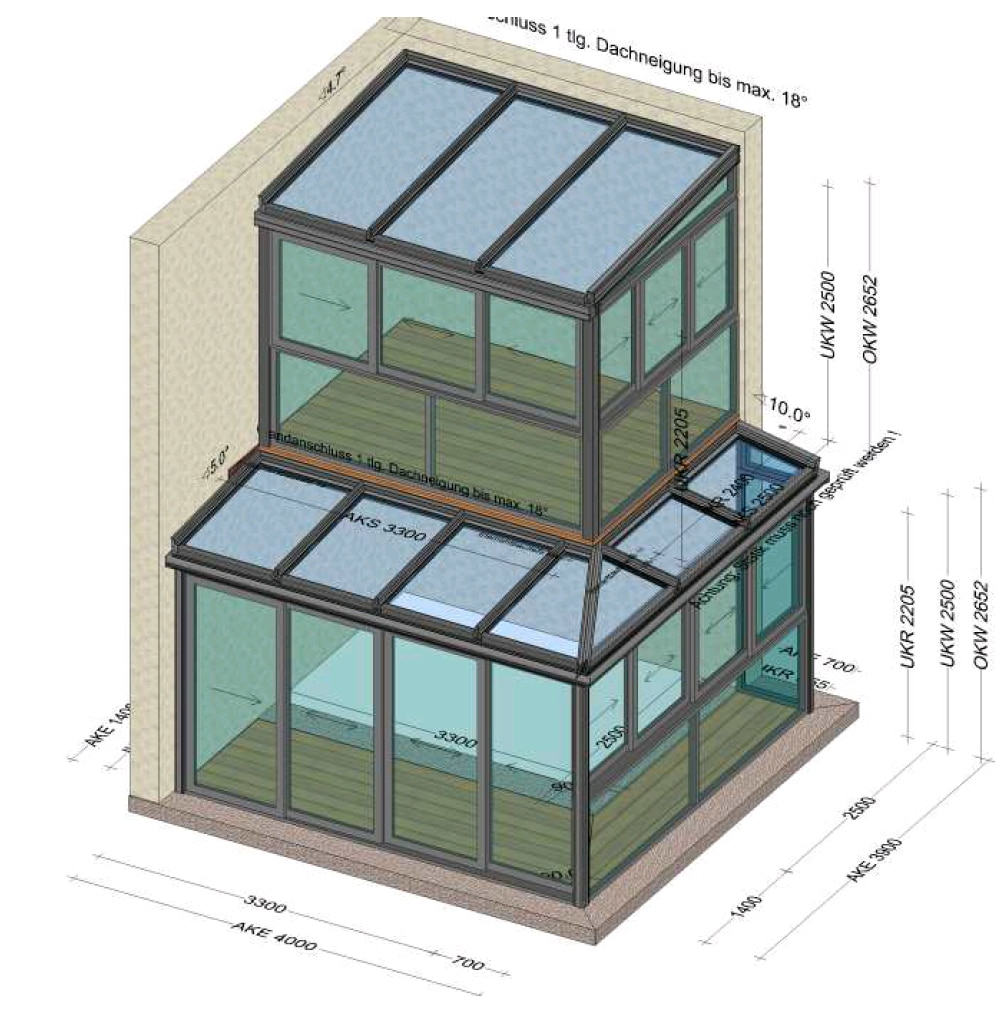 Wintergarten über 2 Etagen - Planungsbeispiele
