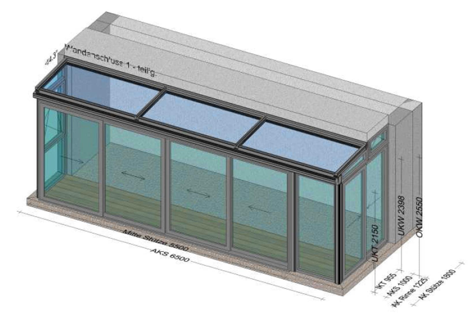 Wintergarten über 6 Meter mit kleinem Glasdach