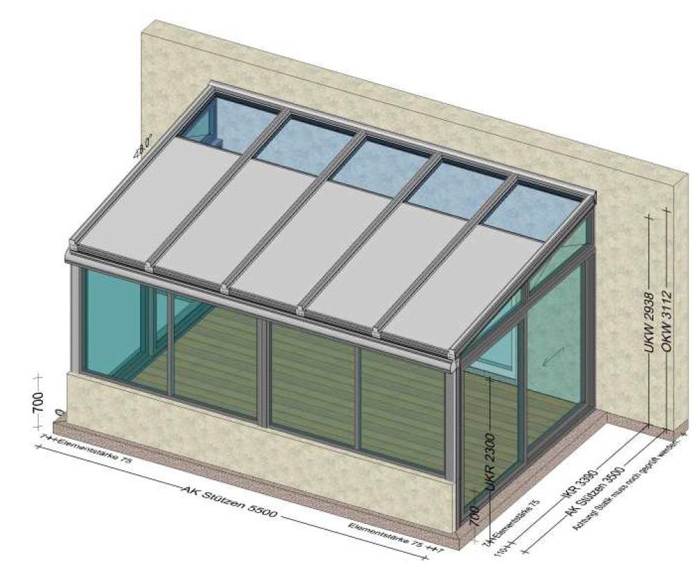 Wintergarten vorne mit Mauerbrüstung und seitlicher Hebeschiebetüre - Planung