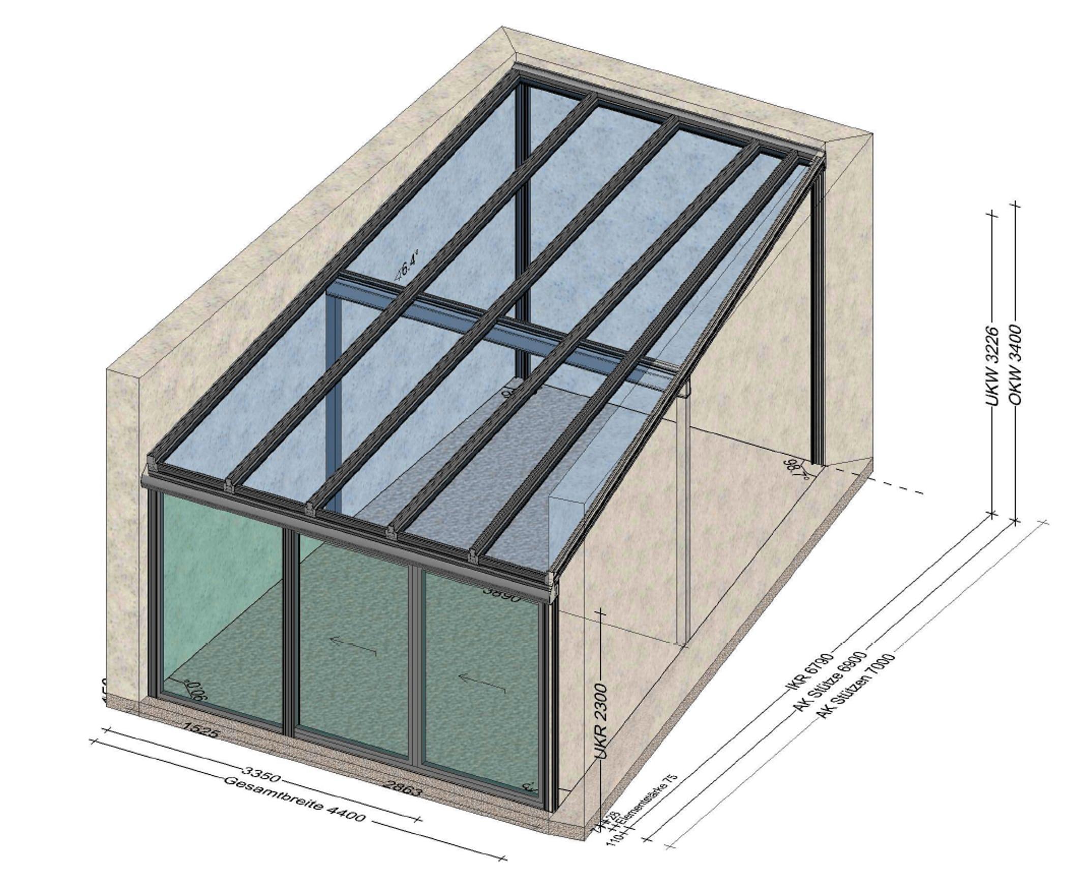 Wintergarten zwischen zwei Hausmauern montiert - Planung Bad Ischl