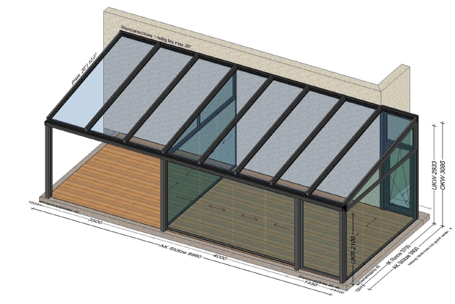 Wintergartenplan mit verlängerter Überdachung