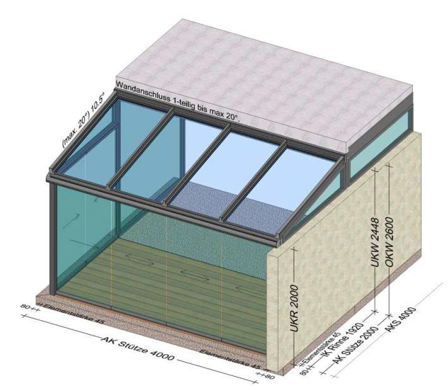 Wintergartenplanung 1 Seite mit Mauer - 1 Seite mit Schiebetüren