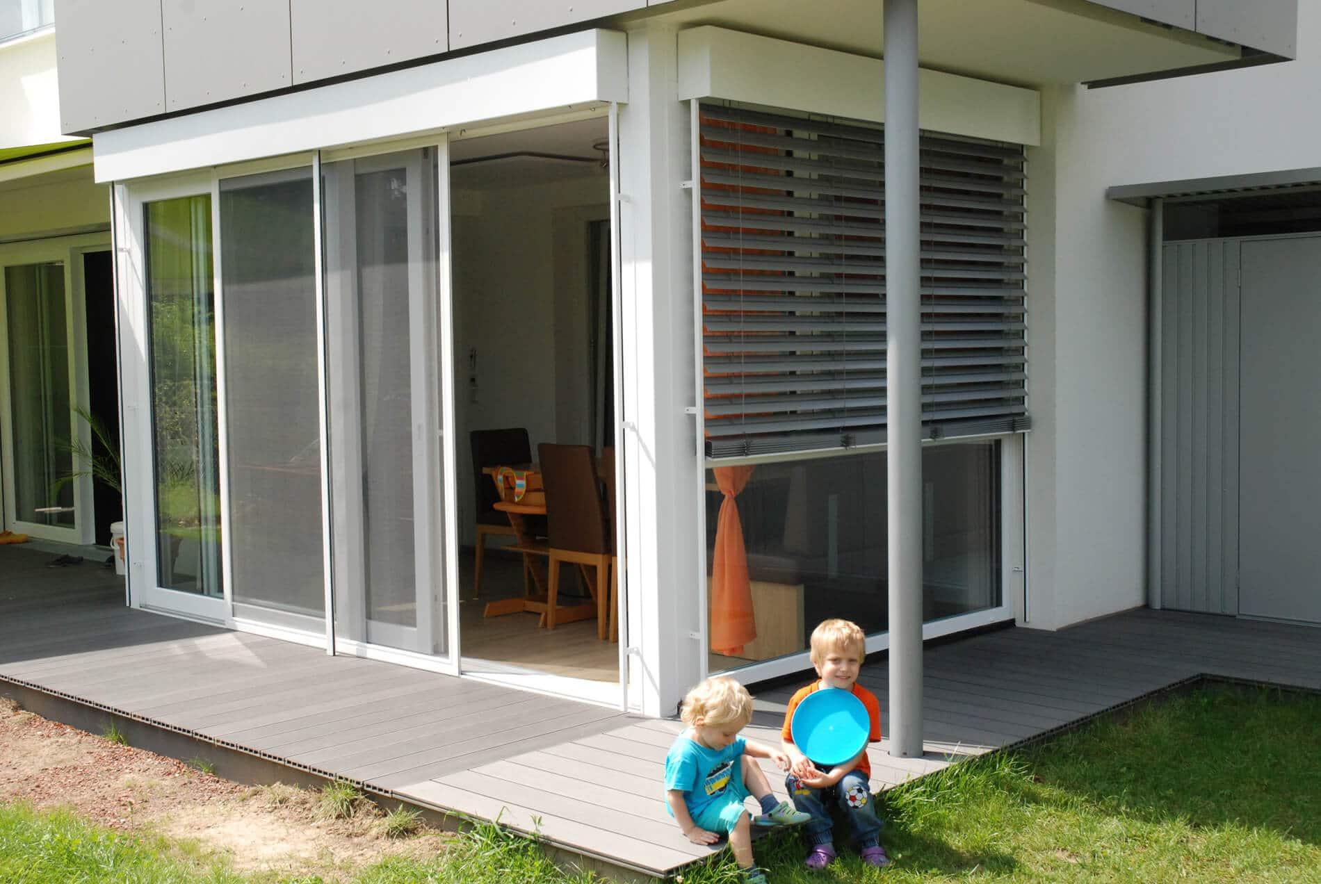 Wintergartenverbau unter Balkon - Hebe-Schiebetür
