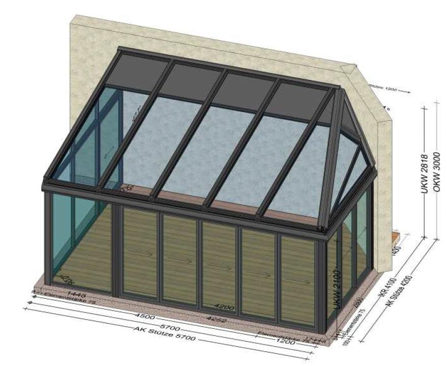 Wohnwintergarten mit besonders abgeschrägtem Dach